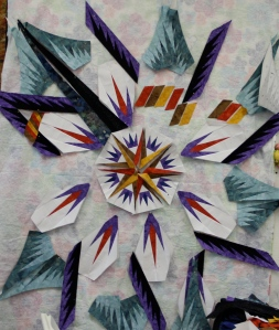 Donna's quilt is full of life - she was unable to do any of the homework prior to class so everything you see here was accomplished during quilt til you wilt
