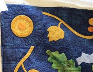 Cindy from the Garage Quilter had lots of fun with this applique quilt.  We loved the back almost as much as the front!