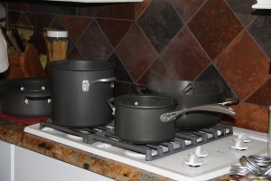 The small pan has the lids and rings ~ the two large pots are for blanching
