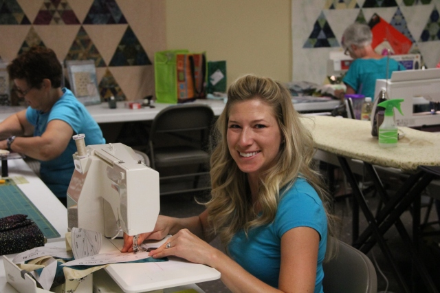 My beautiful niece Nicole - she came to the beginning paper piecing class and stayed for the Quilt Til You Wilt