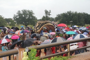 A sea of umbrellas - we had to make our way through this crowd to get to the ring ceremony!  We couldn't get close enough to the big ring for Maddie to have a photo there!
