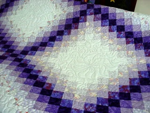 A lovely irish chain.  This pattern remains the most popular - I have quilted more of these than any other pattern and I have made more than 1 myself!