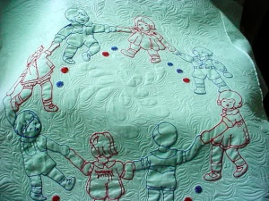A charming little embroidery quilt