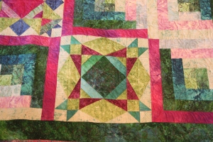 Custom freehand quilting in the sampler blocks