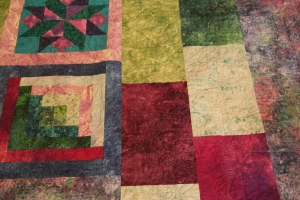 Sheryl used some leftover blocks and fabric to make her backing, cool effect with the quilting