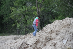 One of the crew was getting some exercise walking up the sand piles