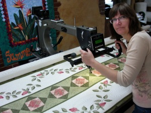 "At one time Cynthia thought she might want photos of me ""quilting"" the quilt - so glad she changed her mind on that!"
