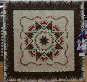 Linda started with the kit from my quilt and added her spin and then Kim Norton from A Busy Bobbin worked some more magic with amazing quilting