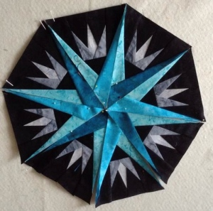 Sharon D's Captain's Wheel - she is attending the retreat in August where I am teaching this quilt!  She is on the ball for pre-class homework!