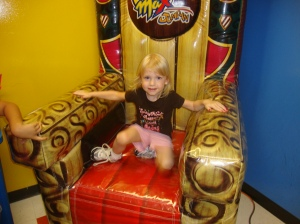 Little Toot at the party for turning 3 (bounce house, combined party)