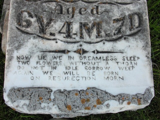 A very damaged headstone - a very young Bunnell - photo taken July 2010