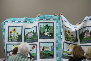 A close-up of the group quilts