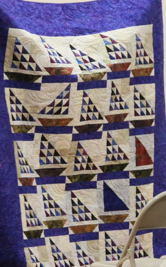 Aren't these sailboats great!  This quilt was made by Liz and quilted by Kim Norton