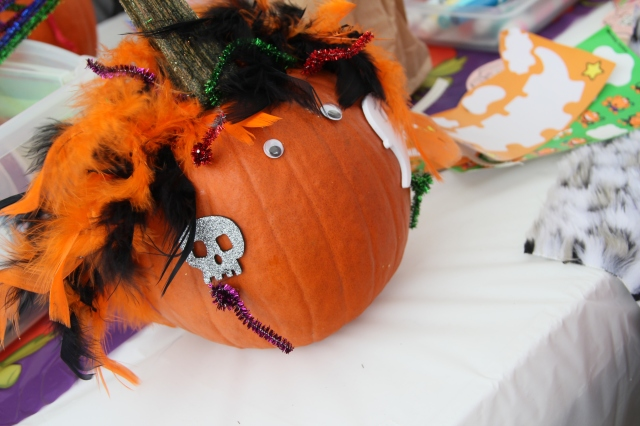Pumpkin decorating was a fun event for the kiddos.