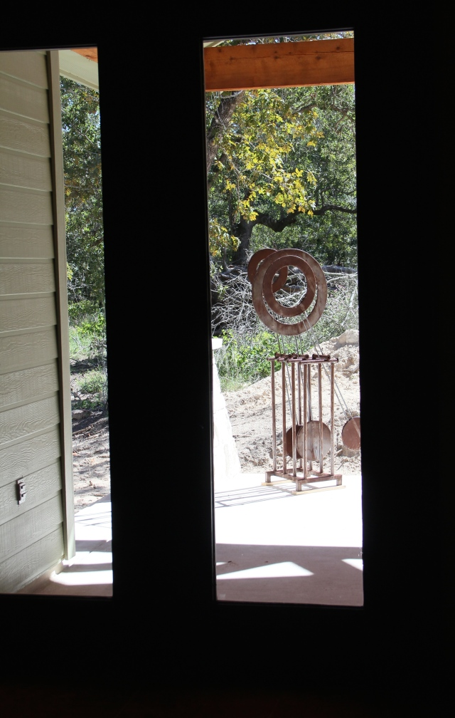 The view through the french doors to the back porch.