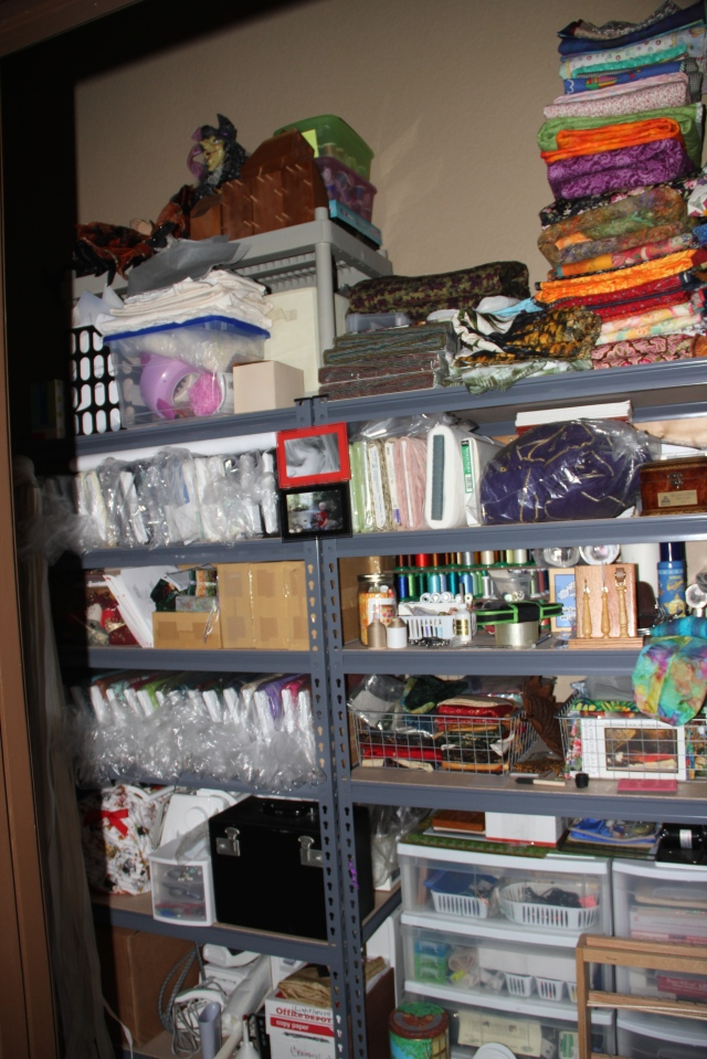 Quilt room closet - this room is a work in process, we are building shelving and pegboard for storage!