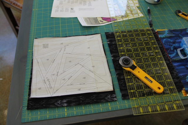 I use the template layout sheet to determine what size to cut my fabric - no measuring!