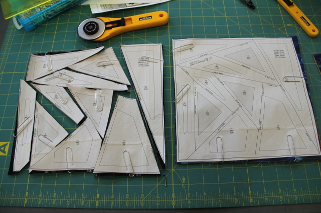 All the pieces are cut in the 1st stack.  To the right is the 2nd stack as I need 2 stacks to make this quilt.