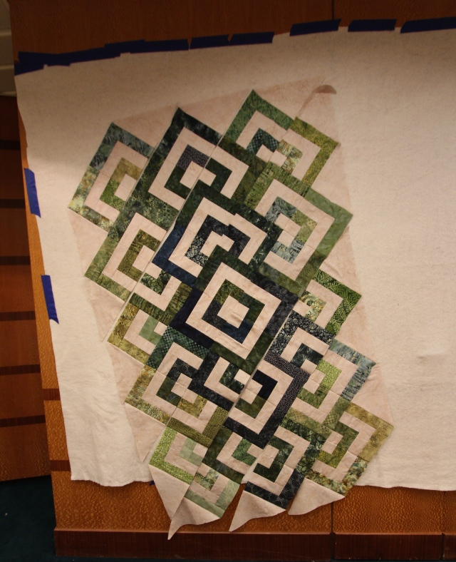 This photo is straight - the quilt on the design wall?  Not so straight!  Were the seas that rough?