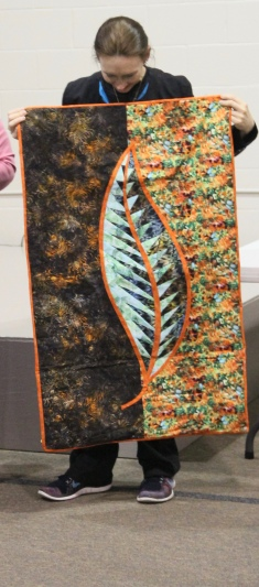Michelle finished her leaf! It is quilted, bound and labeled! Class was Saturday all day, this was Tuesday evening.